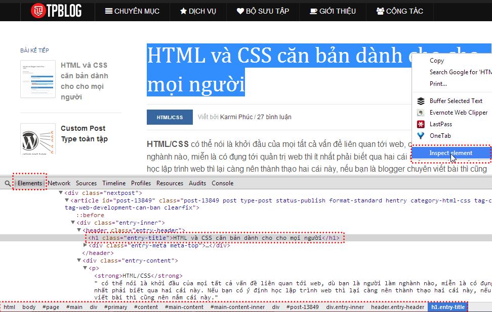 HTML căn bản - Chrome Dev Tools